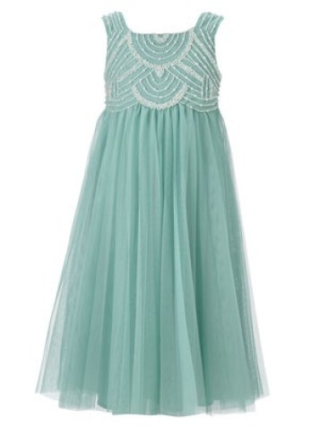 Pale Green Clementine Pearl Beaded Flower Girl Dress by Monsoon.com