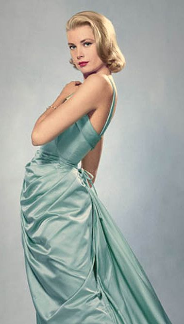 Grace Kelly in the ice-blue Edith Head gown she wore to the 1955 Academy Awards