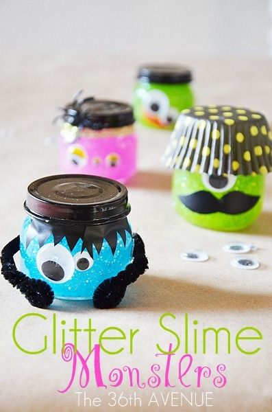 Let little ones create their own monsters out of baby food jars..then fill with homemade glitter slime for Halloween party fun :)