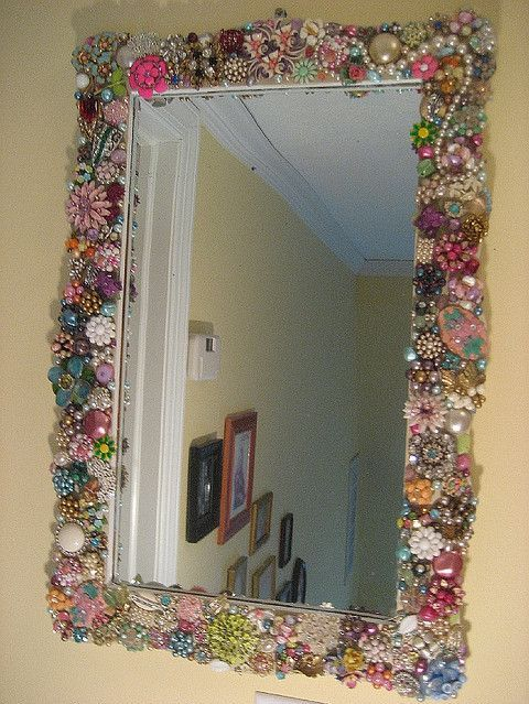Vintage Jewelry Mirror  This took a LOT of vintage #jewelry to make but the final product was well wortth it