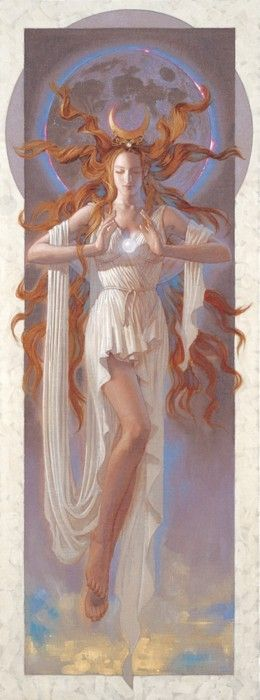 """Selene is the Greek moon goddess. She is the daughter of the Titans Hyperion and Theia, and sister of the sun-god Helios and Eos, goddess of the dawn. Selene is associated with Artemis and Hecate, and all were regarded as lunar goddesses, although only Selene was regarded as the personification of the moon itself. The name Selene is likely derived from selas (σέλας), meaning """"light"""". Her Roman equivalent is Luna."""