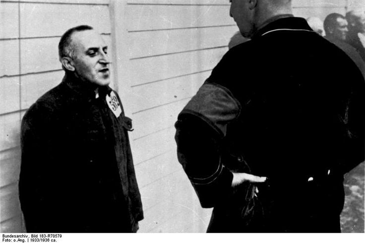 Pacifist editor Carl von Ossietzky:  After the Reichstag fire on 27 Feb 1933, not just the Communists but activists like Ossietzky were also arrested. Had he had a few more days, he would surely have joined the vast majority of writers who fled the country. But he underestimated the speed with which the Nazis would go about ridding the country of unwanted political opponents. He died of TB in   concentration camp in 1938. His 1935 Nobel Peace Prize was interpreted as worldwide censure of Nazism. Bild 183-R70579