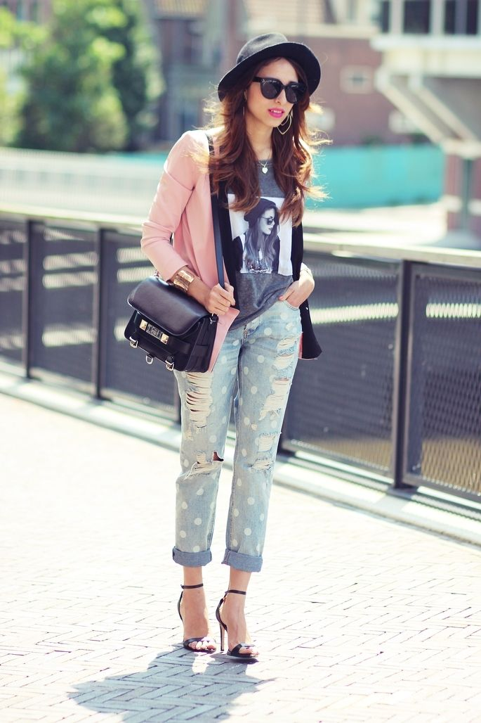 Pink Blazer & Grey Printed Tee & Blue/White Doted Ripped Denim Jeans