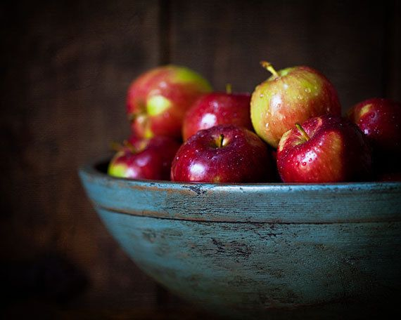 Food Picture - Apple Photograph - Kitchen Wall Art - Kitchen Decor - Bowl of Apples - Red, teal, rustic - Fruit, food still life 8x10.