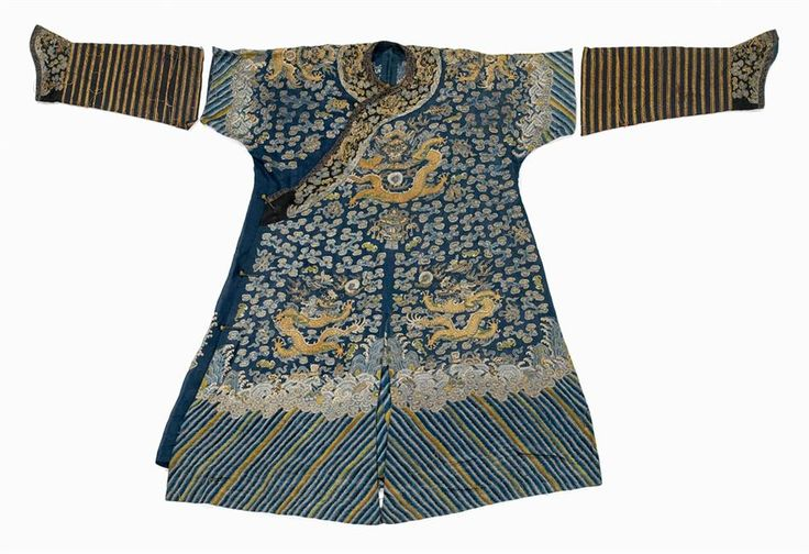 Chinese blue gauze dragon robe, Qing dynasty