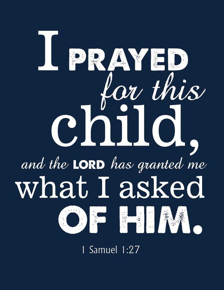 Bible Verse Nursery Print 1 Samuel 1:27. $10.00, via Etsy.