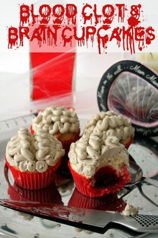 Blood Clot Brain Cupcakes