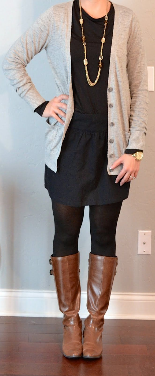 Long cardigan with dress and leggings and boots
