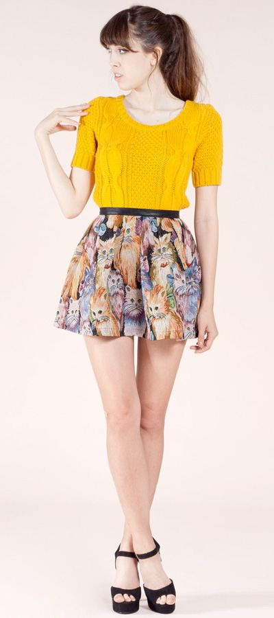 Billy by Flying Tomato Cat Print Denim Mini Skirt #flyingtomato #catlove #miniskirt #catskirt