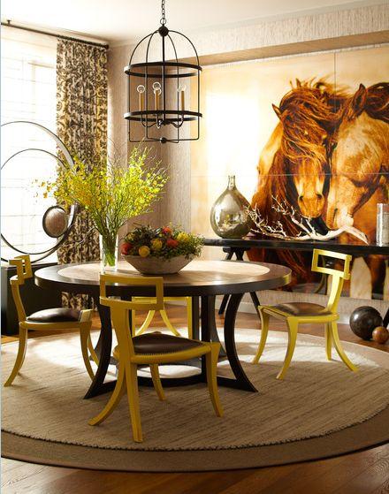 grasscloth wall / large art / living room / thom filicia
