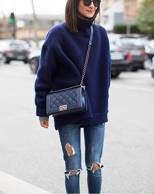 Ladylike Chanel purse, boyfriend sweater, ripped jeans - quintessential LA weekend outfit