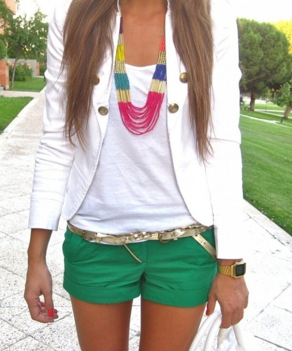 Green shorts outfit. I like the big necklace and the jacket paired with basics I already have.