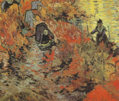 Van Gogh's The Red Vineyard, oil on canvas, 1988. Pushkin State Museum of Fine Arts, Russia. Van Gogh employed rich colors and rapid, short brushstrokes to portray a scene of workers laboring in a riverside field under the full sun. The painting's vivid expression, internalized landscape, and use of color form an interesting dialogue with Zao Wou-Ki's Debut d'Octobre © Pushkin State Museum of Fine Art, Russia