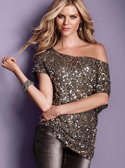 Super cute shirt. Sequin Off-the-shoulder Tunic - Victoria's Secret