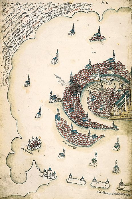 Venice, as rendered by Ottoman admiral and cartographer Piri Reis in his Kitab-i Bahriye, a book of portolan charts and sailing directions produced in the early 16th century.
