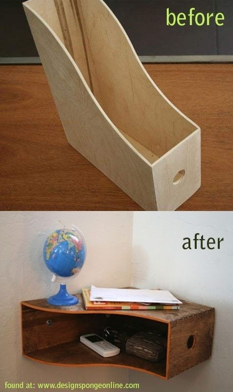 Create a corner shelf with room for paper storage out of a magazine rack.