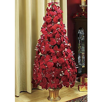 changing fiber optic red poinsettia artificial tree