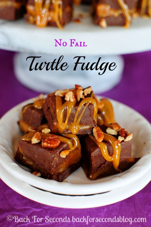 Easy NO FAIL Turtle Fudge - You can't mess this up and it's so impressive! http://backforsecondsblog.com #fudge #chocolate #turtle #christmas