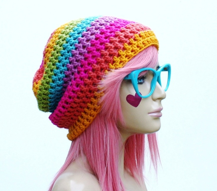 rainbow beanie crochet slouch ultimate slacker striped beanie hat