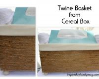 DIY Basket From Cereal Box- Love this! Take twine from the dollar store and add a little hot glue, you can transform anything!