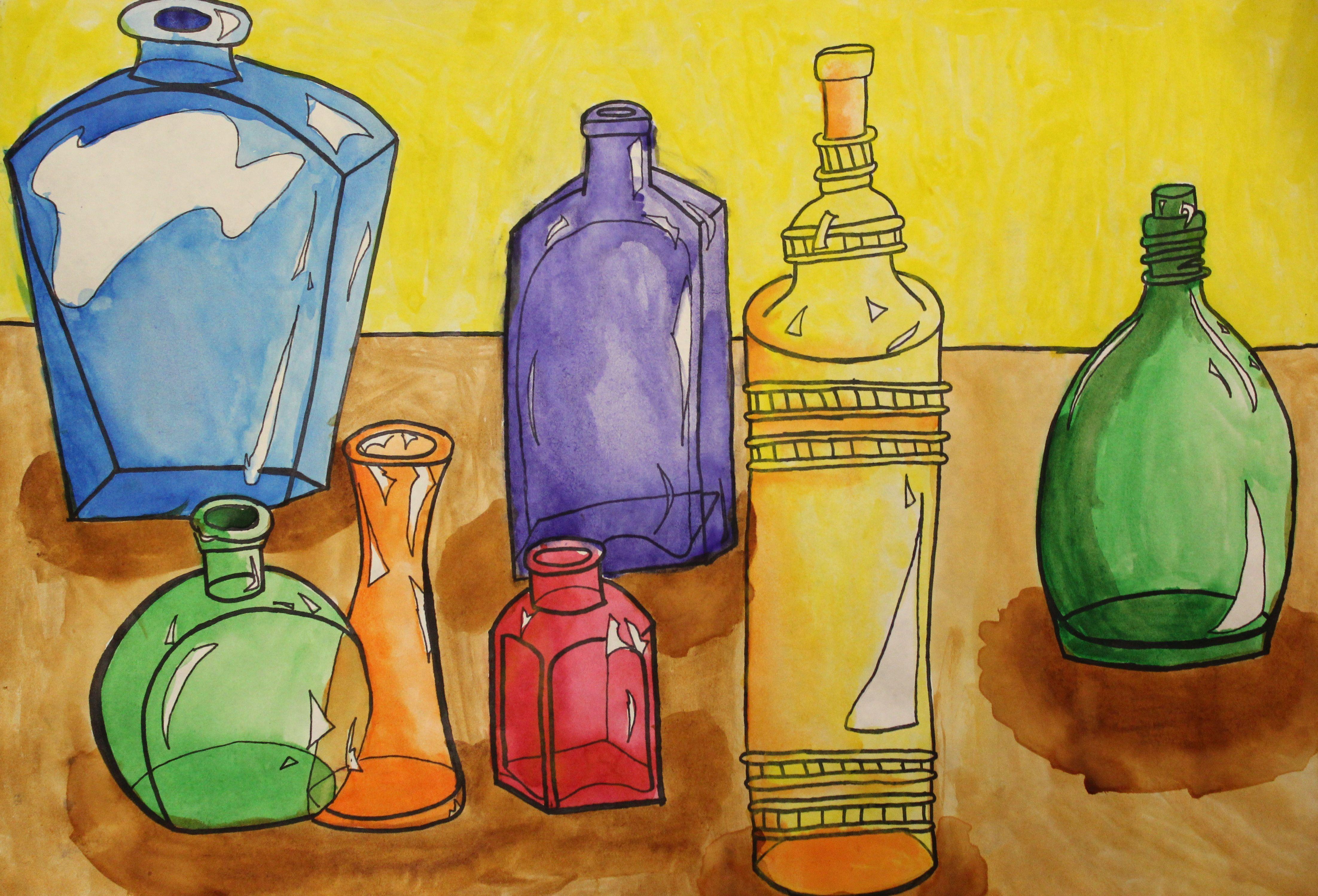 8th Grade Watercolor Bottle Painting Art