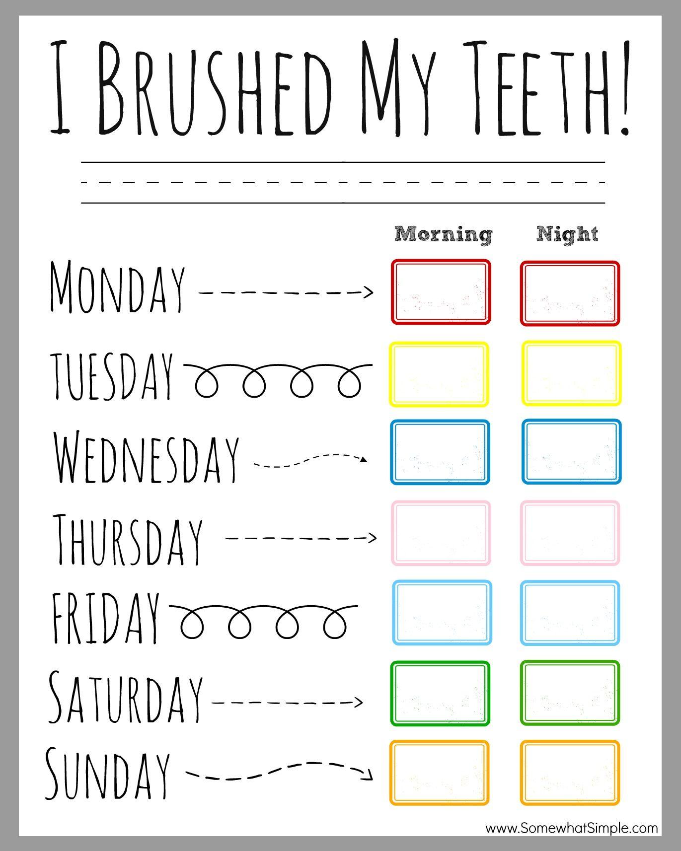 Printable Chart For Brushing Teeth