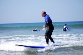 robertz learning to surf with Croyde Surfing Academy