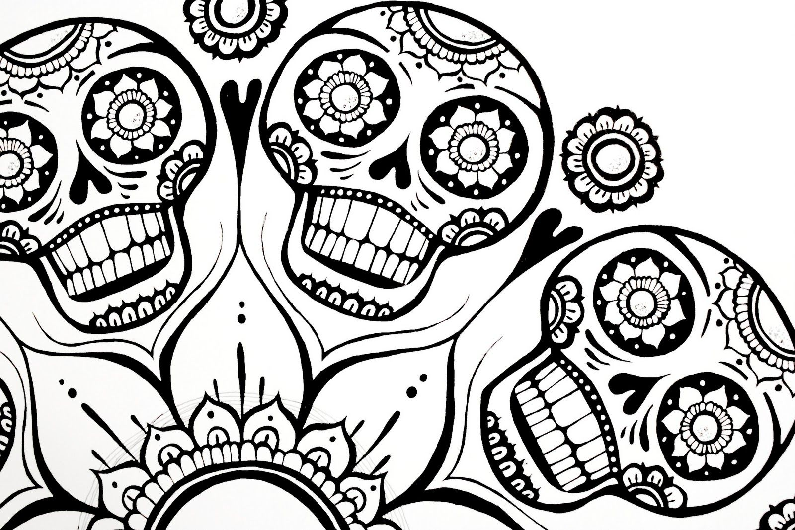 sugar skull flower colouring pages