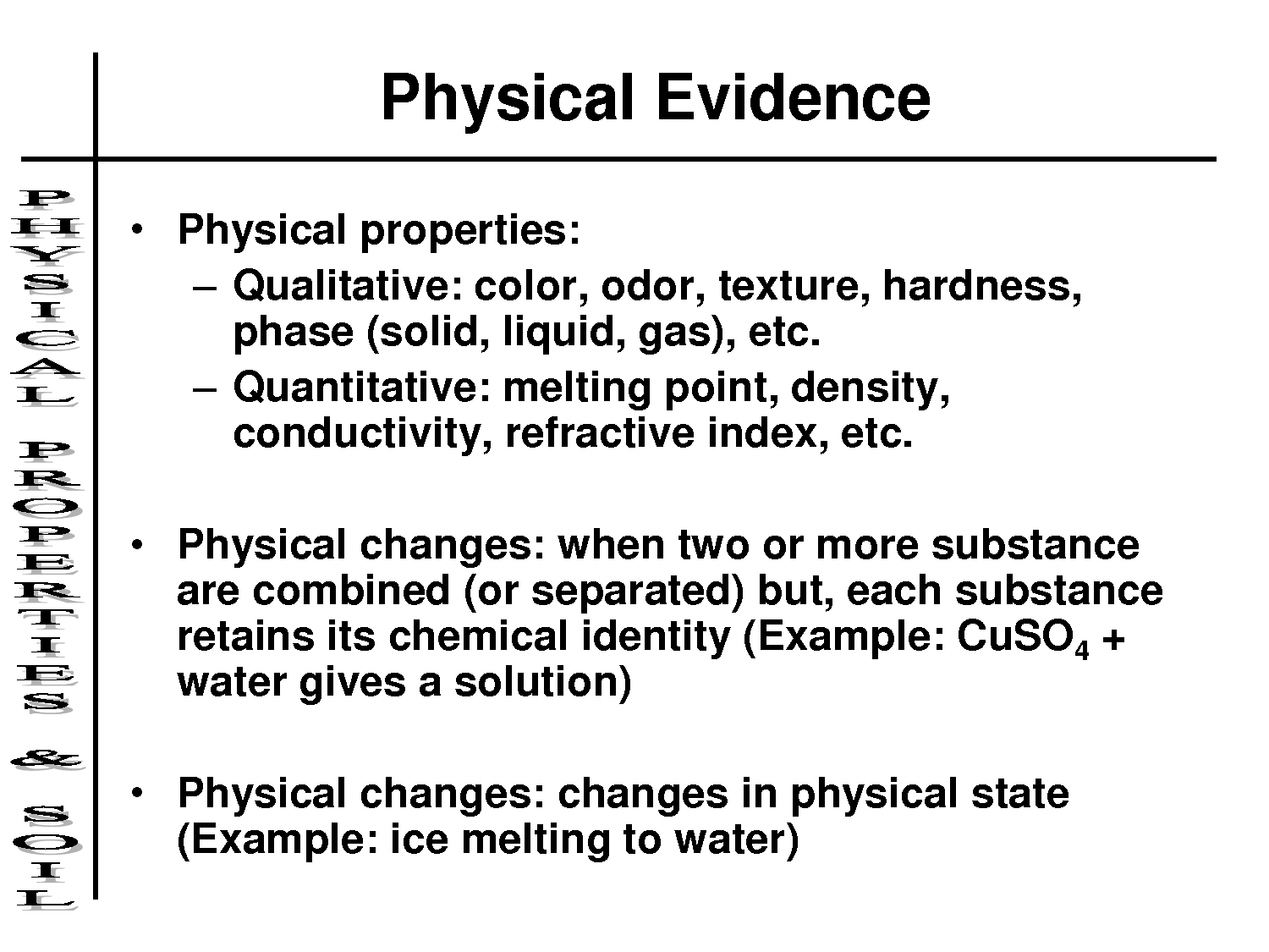 Physical Properties Physical Changes