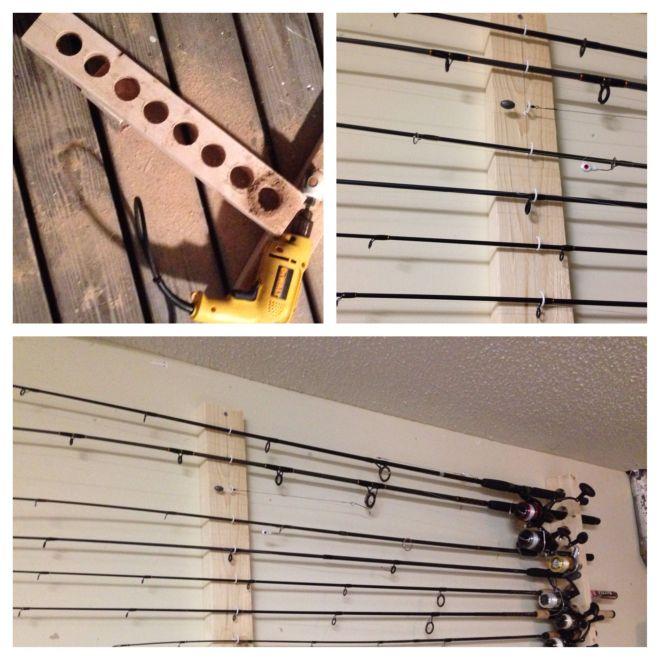 Diy fishing pole rack fishing tips pinterest
