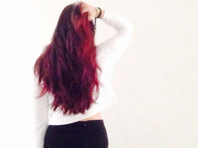 Burgundy Red Ombre Hair