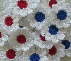 Red White and Blue Crochet Daisy Flowers  set of by IreneStitches, $8.00