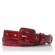 Genevra Printed Leather Skinny Belt