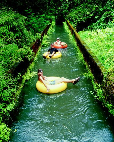 Inner tubing tour through the canals and tunnels of an old sugar plantation in Hawaii.