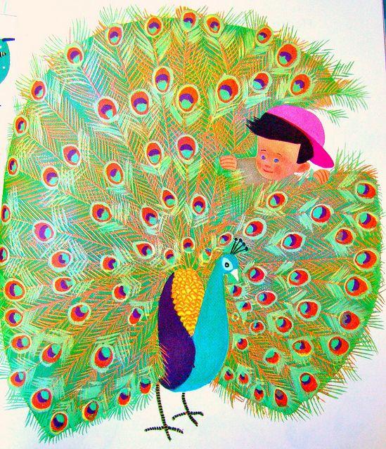 Pet peacock by art.crazed, via Flickr  illustrated by Aurelius Battaglia, 1950