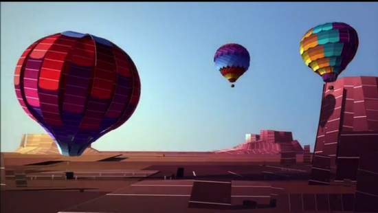 Hitting the open sky in a paint chip hot air balloon.