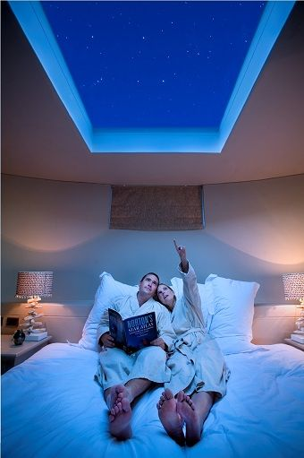 Skylight above bed. Too cool!