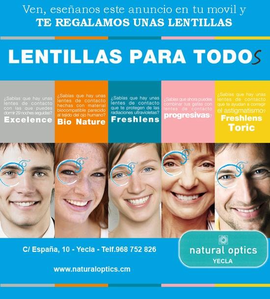Natural Optics en Yecla con este cupón te regala unas lentillas gratis