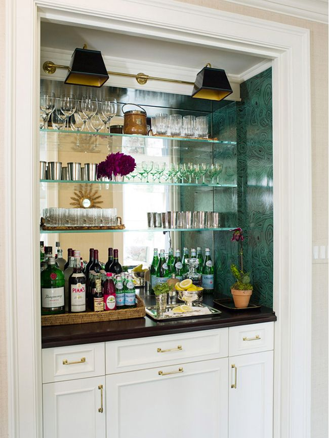 great built-in bar - love the lights & malachite