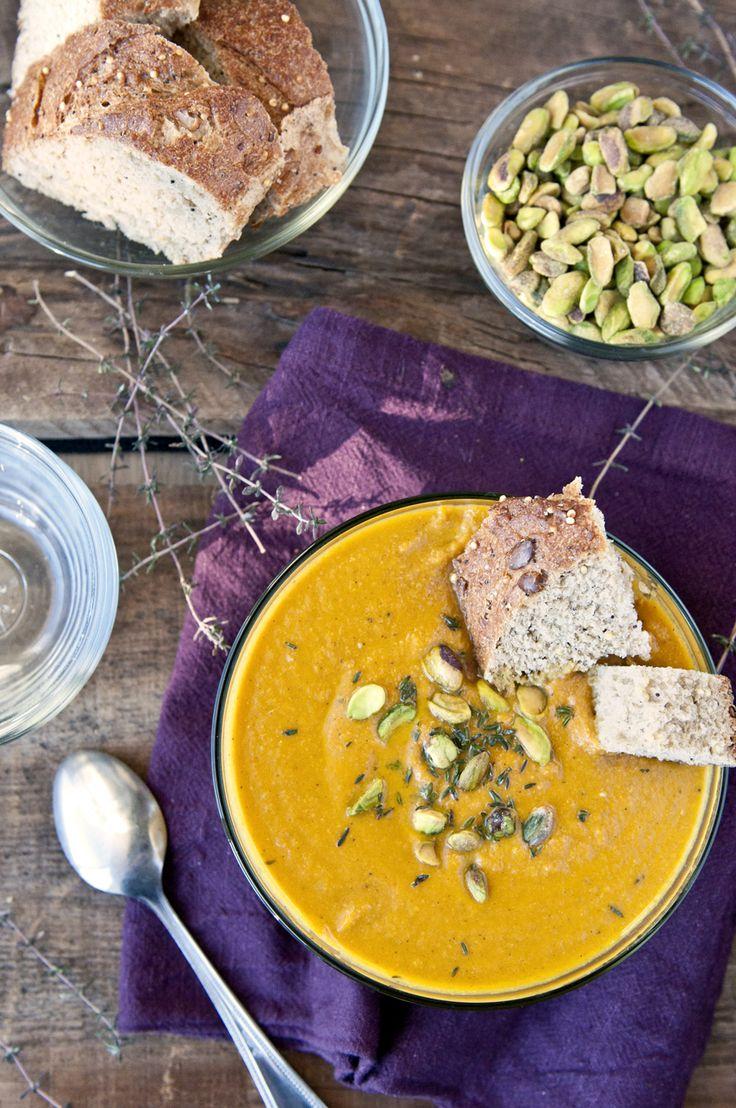 Carote arrosto e zuppa di Pistacchio