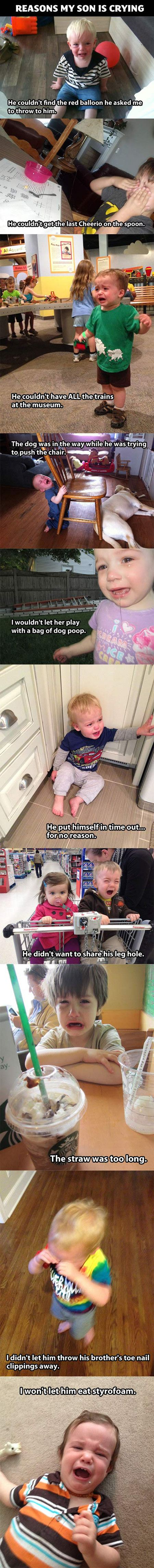 Funny reasons showing why some kids are crying