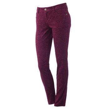 ELLE Paisley Skinny Corduroy Pants