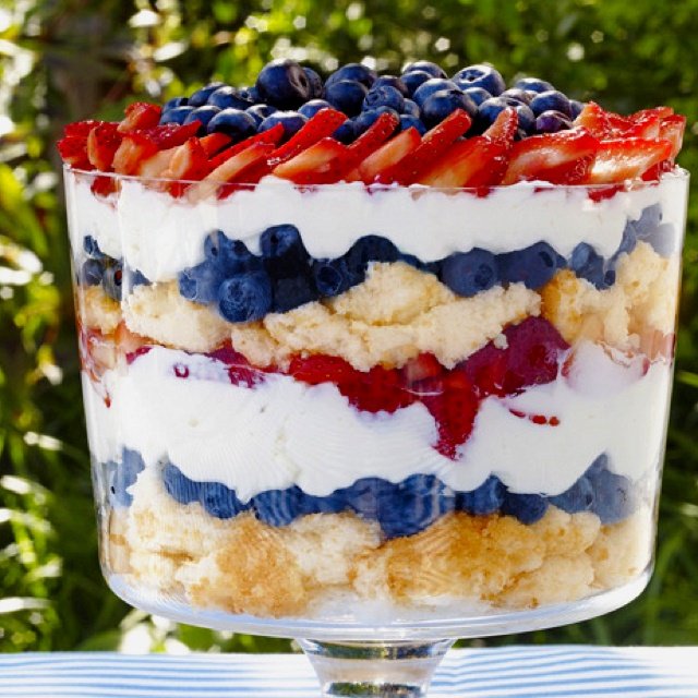 Berry Trifle with store bought angel food cake. http://www.foodnetwork.com/recipes/sunny-anderson/patriotic-berry-trifle-recipe/index.html