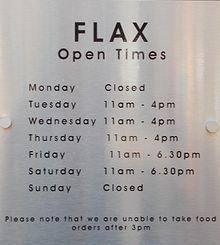 Opening Times Flax #Lowestoft