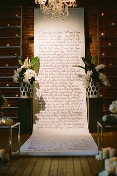 Calligraphy ceremony backdrop  Surprise Elopement Shoot by Stephanie Williams of This Modern Romance for Magnolia Rouge Magazine. Calligraphy by @Laura Jayson Jayson Jayson Hooper www.magnoliarougemagazine.com Being a medievalist, I love the scroll