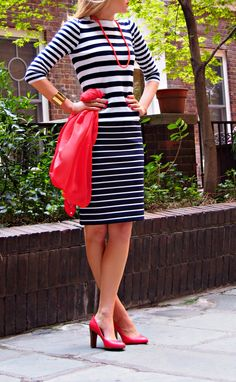 The Classy Cubicle : Stripes on Stripes  The fashion blog for young professional women who need office style inspiration and work wear ideas for the corporate world. J. Crew, Tahari, Calvin Klein, Cuff Bracelet, Coral Necklace, Navy and White Stripes, Spring Fashion