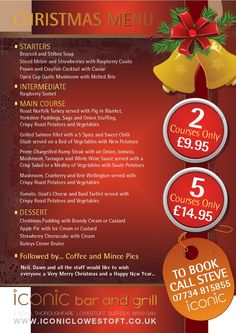 iconiclowestoft.com christmas menu