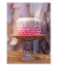 Beautiful Cake Pictures: Pink Ombre Ruffled Little Sparkle 1st Birthday Cake: Birthday Cakes, Cakes With Ruffles, Pink Cakes