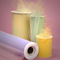 "premium tulle in 3"", 6"", 12"" or 18"" wide x 25 ft long.......about 6 cents per yard.....wide variety of colors"