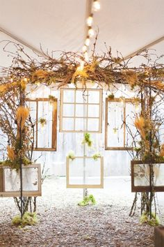 LOVE the vintage window frames as an alter backdrop. (Via Style Me Pretty... Board #95087)